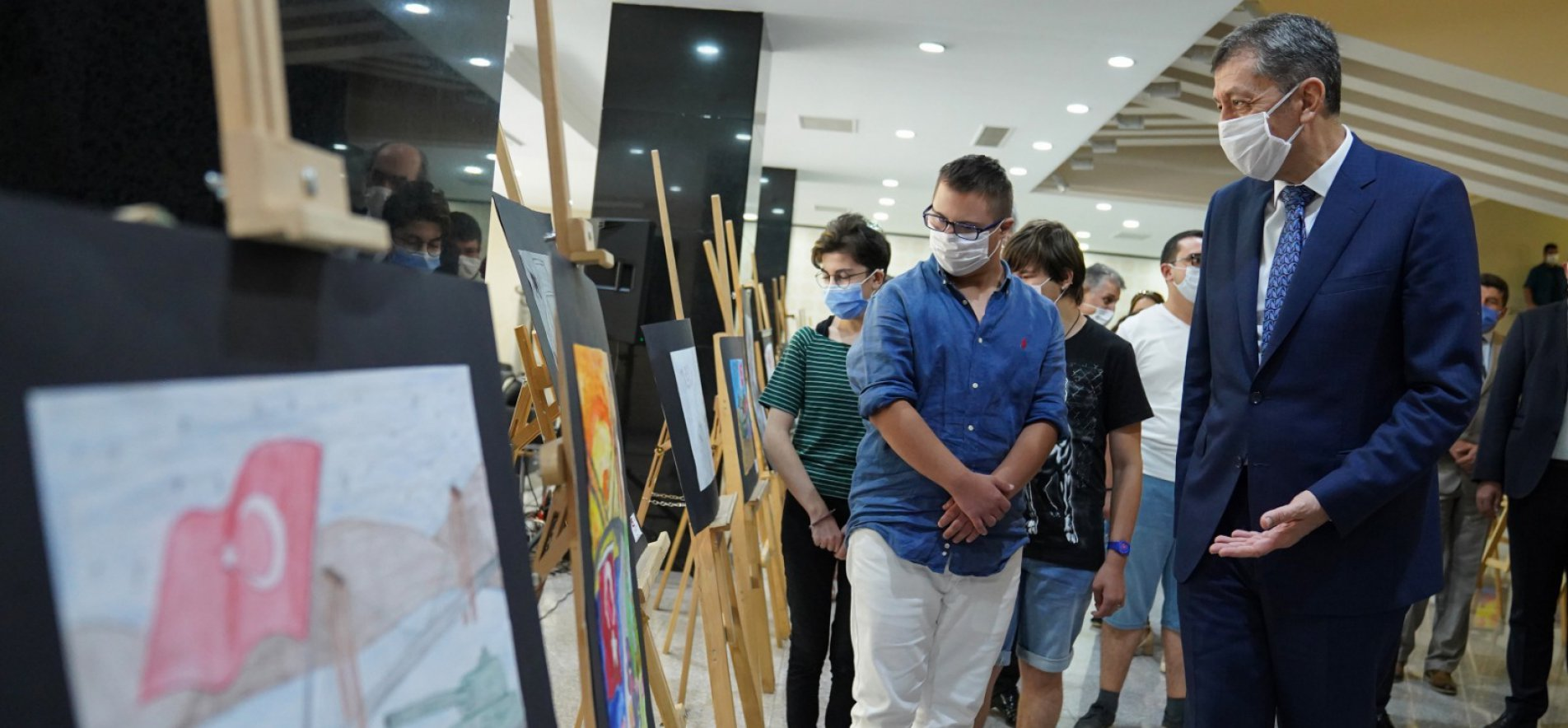 MINISTER SELÇUK INAUGURATES JULY 15 DEMOCRACY AND NATIONAL SOLIDARITY DAY PAINTING CONTEST EXHIBITION